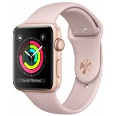 Apple Watch Series 3, 38 мм, корпус из золотистого алюминия, спортивный ремешок цвета «розовый песок» (золотистый)